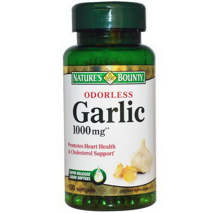 Nature's Bounty, Odorless Garlic, 1000mg, 100 Softgels