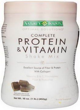 Nature's Bounty, Optimal Solutions, Complete Protein & Vitamin Shake Mix, Naturally Flavored Decadent Chocolate, 16oz (453g)