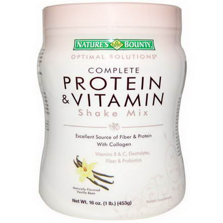 Nature's Bounty, Optimal Solutions, Complete Protein & Vitamin Shake Mix, Naturally Flavored Vanilla Bean, 16oz (453g)