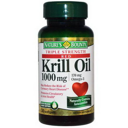Nature's Bounty, Red Krill Oil, Omega-3, Triple Strength, 1000mg, 30 Softgels