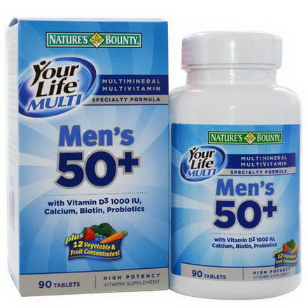 Nature's Bounty, Your Life Multi Men's 50+, Multivitamin/Multimineral Specialty Formula, 90 Tablets