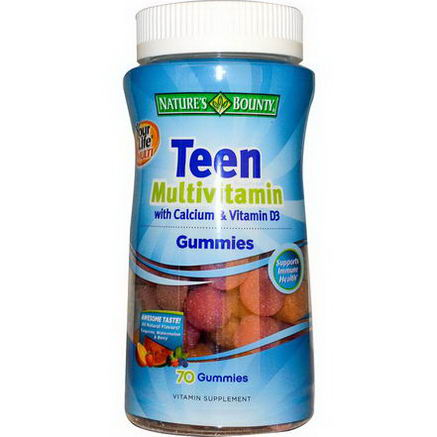 Nature's Bounty, Your Life Multi Teen Gummies Multivitamin with Calcium & Vitamin D3, 70 Gummies