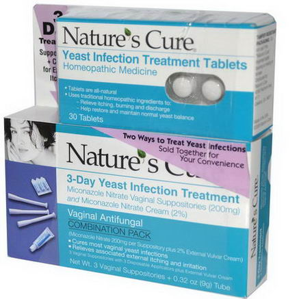 Nature's Cure, Vaginal Yeast Infection Treatment Convenience Pack, 2 Piece Kit