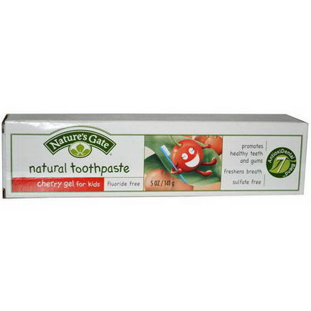 Nature's Gate, Cherry Gel for Kids, Natural Toothpaste, Fluoride Free, 5oz (141g)