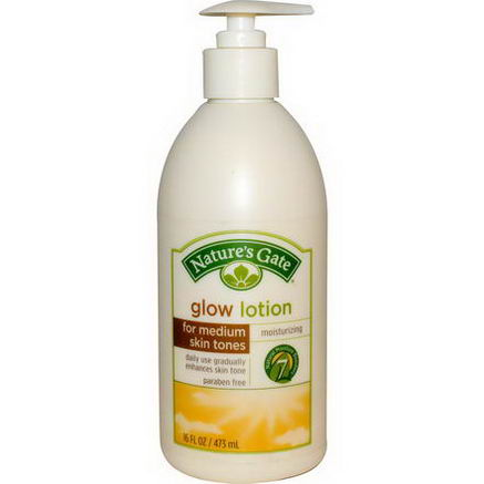 Nature's Gate, Glow Lotion, Moisturizing, For Medium Skin Tones, 16 fl oz (473 ml)