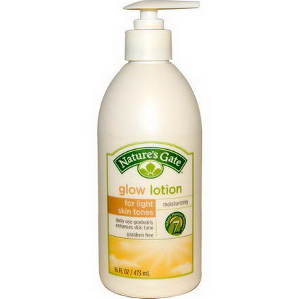 Nature's Gate, Glow Lotion, Moisturizing, Light Skin Tones, 16 fl oz (473 ml)