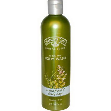 Nature's Gate, Herbal Blend, Body Wash, Lemongrass & Clary Sage, 12 fl oz (354 ml)