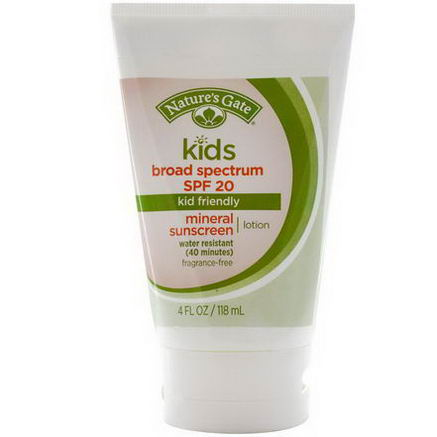 Nature's Gate, Kids Mineral Sunscreen Lotion, SPF 20, Fragrance-Free, 4 fl oz (118 ml)
