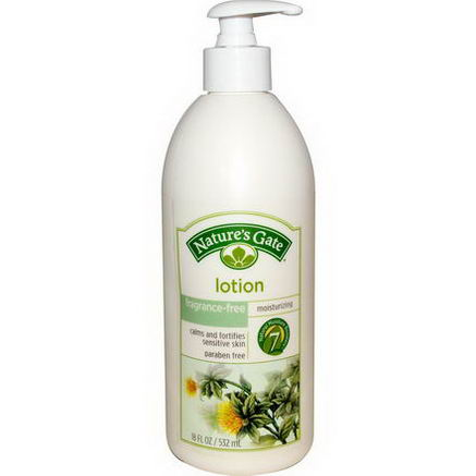 Nature's Gate, Lotion, Moisturizing, Fragrance-Free, 18 fl oz (532 ml)