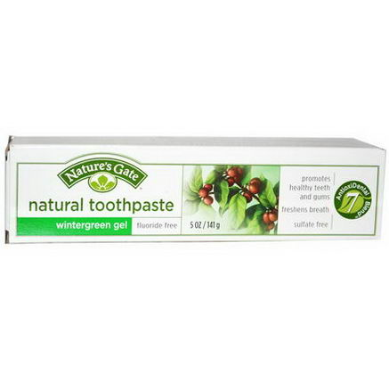 Nature's Gate, Natural Toothpaste, Fluoride Free, Wintergreen Gel, 5oz (141g)
