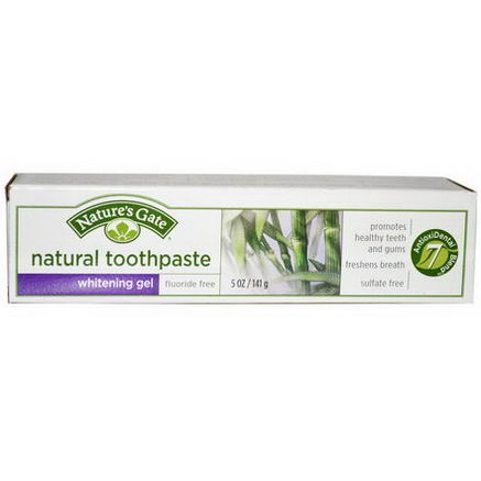 Nature's Gate, Natural Toothpaste, Whitening Gel, Flouride Free, 5oz (141g)