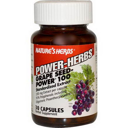 Nature's Herbs, Power Herbs, Grape Seed-Power 100, 100mg, 30 Capsules