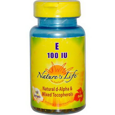 Nature's Life, E, Natural D-Alpha & Mixed Tocopherols, 100 IU, 100 Softgels