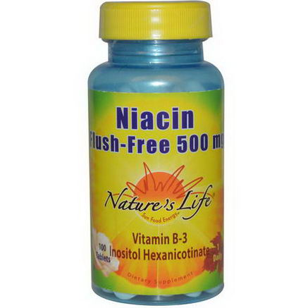 Nature's Life, Niacin, Flush Free, 500mg, 100 Tablets