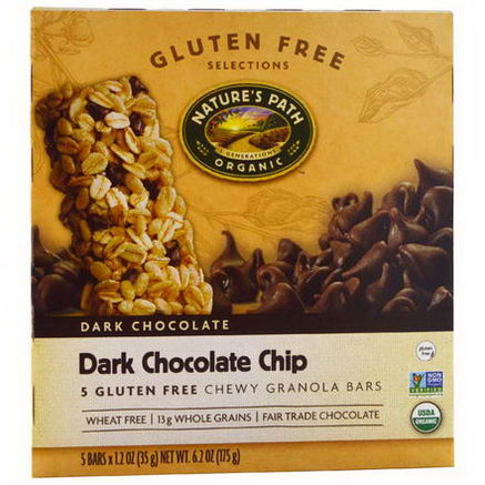 Nature's Path, Chewy Granola Bars, Dark Chocolate Chip, 5 Bars, 1.2oz (35g)