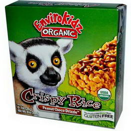 Nature's Path, EnviroKidz Organic, Crispy Rice Cereal Bars, Peanut Choco Drizzle, 6 Bars, 1oz (28g) Each