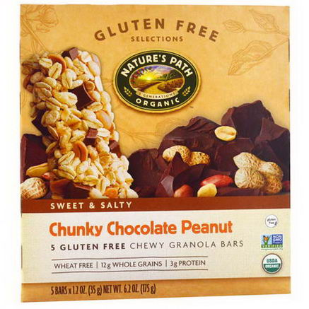 Nature's Path, Gluten Free Selections, Chewy Granola Bars, Chunky Chocolate Peanut, 5 Bars, 1.2oz (35g) Each