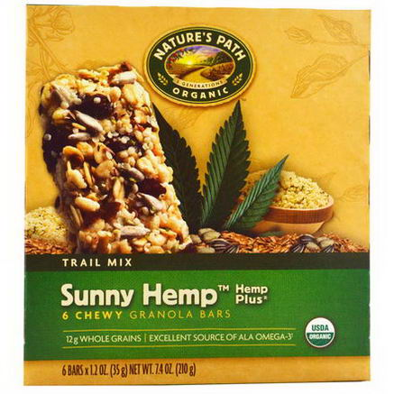 Nature's Path, Organic, Chewy Granola Bars, Sunny Hemp, Trail Mix, 6 Bars, 1.2oz (35g) Each