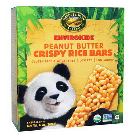 Nature's Path, Organic, EnviroKidz, Crispy Rice Cereal Bars, Peanut Butter, 6 Bars, 1oz (28g) Each