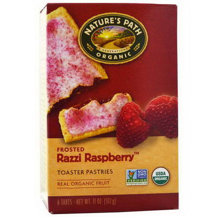 Nature's Path, Organic, Frosted Toaster Pastries, Razzi Raspberry, 6 Tarts, 52g Each