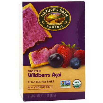 Nature's Path, Organic Frosted Toaster Pastries, Wildberry Acai, 6 Tarts, 52g Each