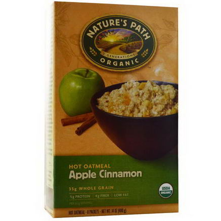 Nature's Path, Organic Hot Oatmeal, Apple Cinnamon, 8 Packets, 50g Each