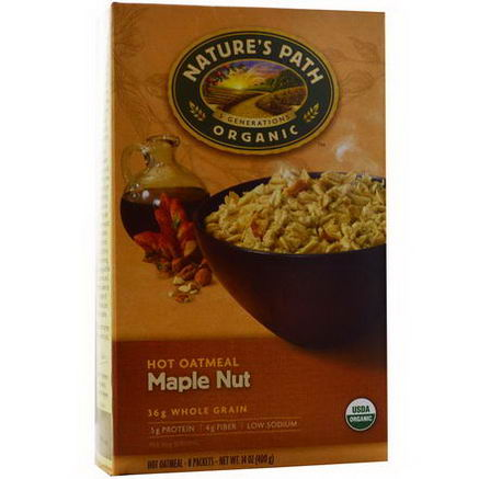 Nature's Path, Organic Hot Oatmeal, Maple Nut, 8 Packets, 50g Each