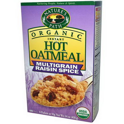 Nature's Path, Organic Instant Hot Oatmeal, Multigrain Raisin Spice, 8 Packets, 50g Each
