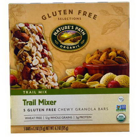 Nature's Path, Organic, Trail Mixer, Chewy Granola Bars, Gluten Free, 5 Bars, 1.2oz (35g) Each