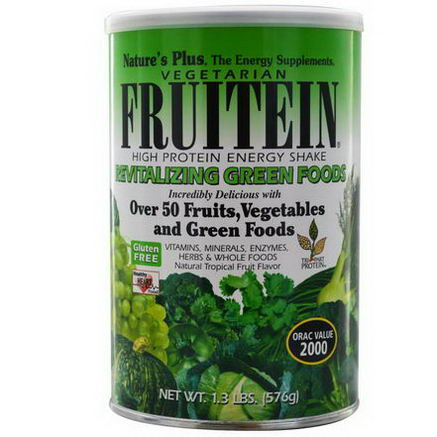 Nature's Plus, Fruitein High Protein Energy Shake, Revitalizing Green Foods, 1.3 lbs (576g)