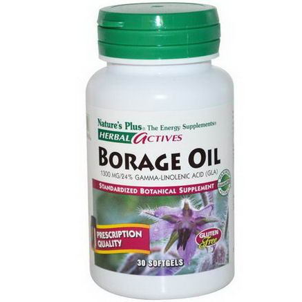 Nature's Plus, Herbal Actives, Borage Oil, 1300mg, 30 Softgels