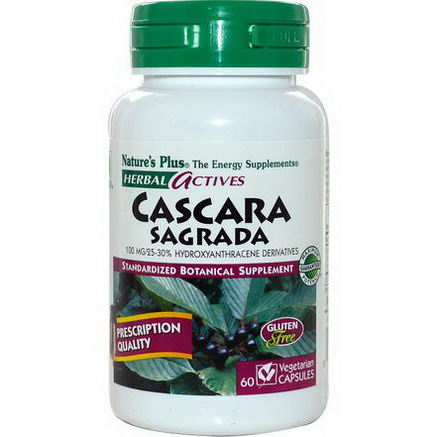 Nature's Plus, Herbal Actives, Cascara Sagrada, 100mg, 60 Veggie Caps