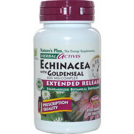 Nature's Plus, Herbal Actives, Echinacea with Goldenseal, 30 Tablets