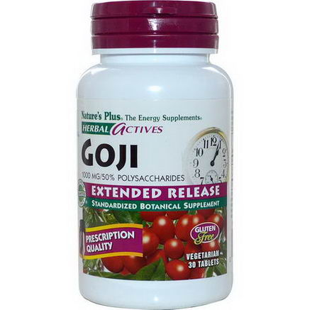 Nature's Plus, Herbal Actives, Goji, Extended Release, 1000mg, 30 Veggie Tabs