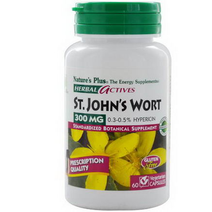 Nature's Plus, Herbal Actives, St. John's Wort, 300mg, 60 Veggie Caps