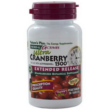 Nature's Plus, Herbal Actives, Ultra Cranberry 1500, 1500mg, 30 Veggie Tabs