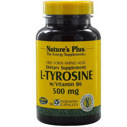 Nature's Plus, L-Tyrosine w/Vitamin B6, 500mg, 90 Veggie Caps