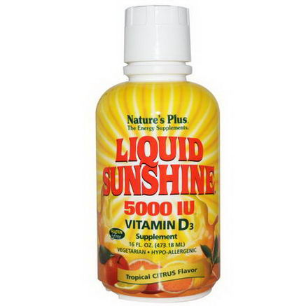 Nature's Plus, Liquid Sunshine, Vitamin D3 Supplement, Tropical Citrus Flavor, 5000 IU, 16 fl oz (473.18 ml)