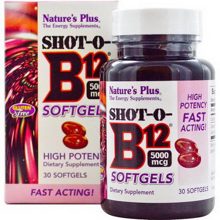Nature's Plus, Shot-O-B12 Softgels, 5000 mcg, 30 Softgels