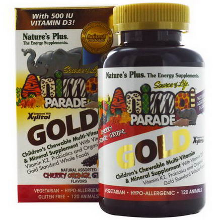 Nature's Plus, Source of Life Animal Parade Gold, Children's Chewable Multi-Vitamin & Mineral Supplement, Natural Assorted Flavors, 120 Animals