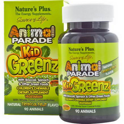 Nature's Plus, Source of Life, Animal Parade, Kid Greenz, Natural Tropical Fruit Flavor, 90 Animals