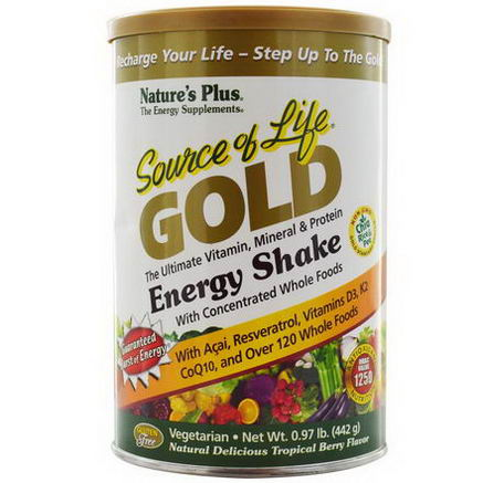 Nature's Plus, Source of Life Gold, Energy Shake, Tropical Berry Flavor, 97 lb (442g)