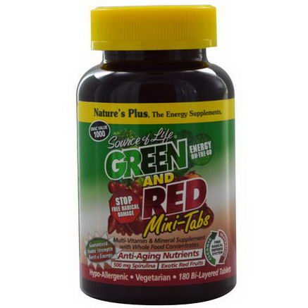 Nature's Plus, Source of Life, Green and Red Mini-Tabs, 180 Bi-Layered Tablets