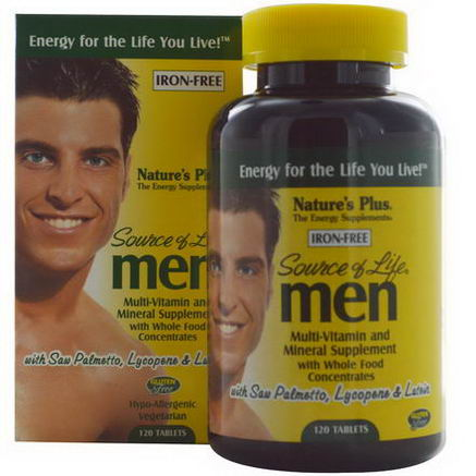 Nature's Plus, Source of Life, Men, Multi-Vitamin and Mineral Supplement, Iron-Free, 120 Tablets