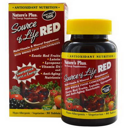 Nature's Plus, Source of Life, Red, Multi-Vitamin & Mineral Supplement, 90 Tablets