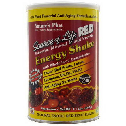Nature's Plus, Source of Life Red, Vitamin, Mineral and Protein, Energy Shake, 1.1 lbs (507g)
