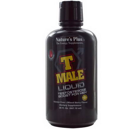 Nature's Plus, T-Male Liquid, Testosterone Boost for Men, Mixed Berry Flavor, 30 fl oz (887.10 ml)