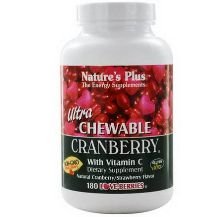 Nature's Plus, Ultra Chewable Cranberry with Vitamin C, Natural Cranberry/Strawberry Flavor, 180 Love-Berries