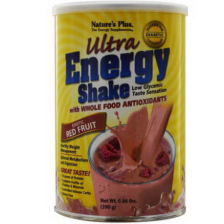 Nature's Plus, Ultra Energy Shake, Exotic Red Fruit, 0.86 lbs. (390g)