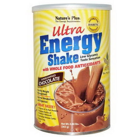 Nature's Plus, Ultra Energy Shake, Supercharged Chocolate, 0.80 lbs (363g)